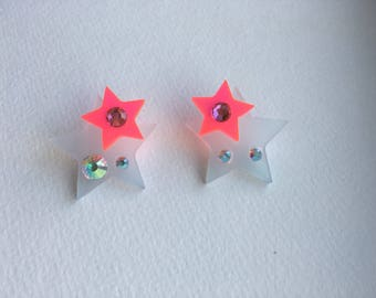 Blue and Neon Pink Star Earrings