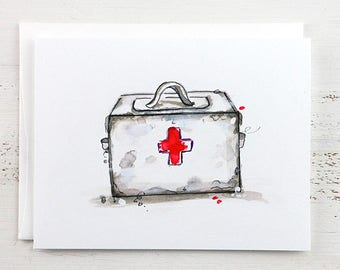 Get Well Note Card - First Aid