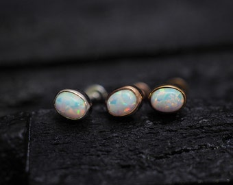 White opal Oval casting screw flat back cartilage stud,helix earring,lip ring,medusa piercing,conch earring