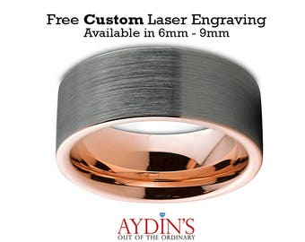 Mens Wedding Band  Tungsten Ring  Tungsten Wedding Band Ring 9mm Comfort Fit 18K Rose Gold Pipe Cut Flat Brushed Polished