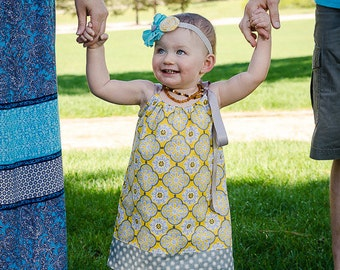 Girls Grey and Yellow Pillowcase Dress - Grey Yellow & White Sun Dress -  Mustard Yellow Sun Dress - Size 12m, 18m, 2T, 3T, 4, 5, 6, 8 or 10