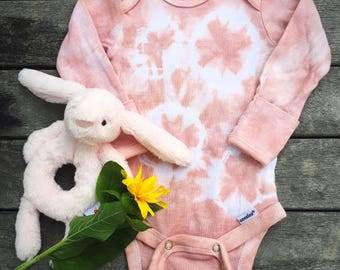 Hand Dyed Long Sleeve Onesie - Shibori - 0-3 months - Pink