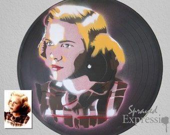 Custom Child Portrait Spray Paintings on Upcycled Vinyl Record - Made to Order