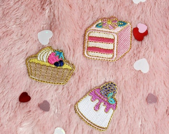 Mini Sweets Patches Set or Single - Embroidered Fruit Tart, Blackberry Cheesecake, and Petit Fours Cake