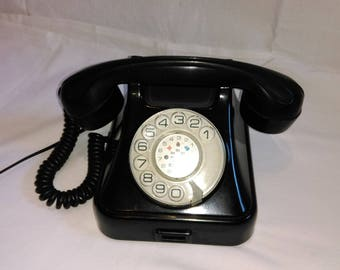 Bakelite Rotary Telephone  by Iskra, Yugoslavia / Black