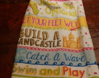 Sandcastle Towel / Double Hanging Kitchen Towel / Summer Towel T144