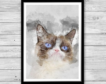 Grumpy Cat, Grumpy Cat Print, Grumpy Cat Poster Wall Art funny cat painting Cat Printable Painting Poster Grumpy Cat Art grumpy cat decor