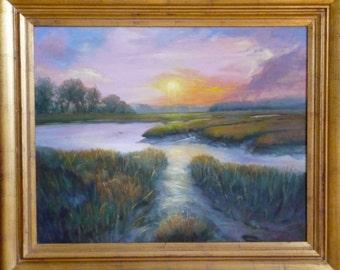 South Carolina Low Country, Marsh Scene, Coastal Area, South Carolina,  Original  Art, Water, Sky