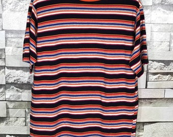 Rare Vintage Multicolour Stripe t shirt size XLarge XL Made in Usa / Skate Powell Santa Cruz Skateboard t shirt/ Surfing Surfer t shirt