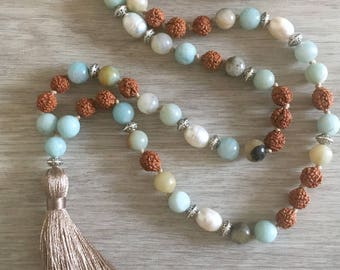 Of the Sea Mala ~ Amazonite & Pearl ~ 108 Bead, Hand Knotted Mala Necklace, Meditation Beads, Prayer Beads, Tassel Necklace