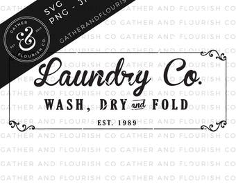 Laundry Sign SVG Cut File, Stencil Cut File, Laundry Room Stencil, Wash and Dry SVG, Farmhouse Laundry Sign, Farmhouse Sign Stencil