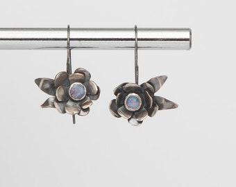 Opal Flower Earrings | Sterling Silver | One of a Kind