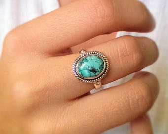 Boho turquoise ring - December birthstone ring - promise ring - boho wedding ring - gypsy ring - tribal ring - gift for girlfriend or wife
