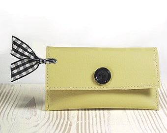 Yellow Credit Card Wallet, Pastel Yellow Faux Leather Business Card Holder, Business Card Wallet, Gift Card Holder