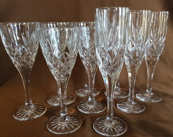 Mid century crosshatch cut crystal stemware wine glasses and champagne