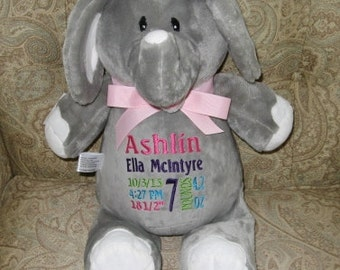 Personalized Elephant New Baby Gift Birth Announcement Baby Shower Gift Big Brother Big Sister Ring Bearer Flower Girl Gift Cubbies Elephant