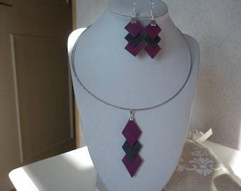 loop-ears in grey and purple leather necklace
