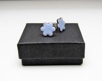 Lavender blue flower enamel stud earrings