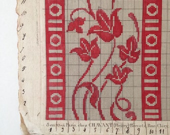 Red & Beige Off White Graphpaper Original 19th Century Handpainted Textile Design Monogram Sewing Pattern For Wall Art Display Interior