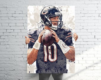 Chicago bears print etsy mitchell trubisky chicago bears sports art print poster watercolor abstract paint splash kids voltagebd Images