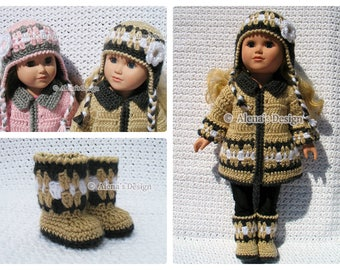 "18 inch Doll Clothes Crochet Pattern 3 PC Set for 18"" American Doll Crochet Patterns Jacket Boots Ear Flap Hat Christmas Gift for Girl"