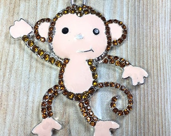 47x45mm, Monkey Rhinestone Pendant, Zoo Animals, Monkey Pendant, Chunky Bead Necklace, Chunky Necklace, DIY Necklace, Monkey Necklace