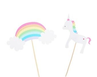 Pastel Rainbow / Unicorn Center Piece Picks - Rainbow Birthday Party - Unicorn Birthday Party - Rainbow Party Decor