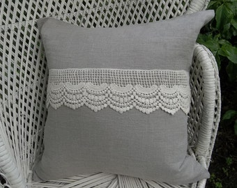 Linen and Lace Pillow Custom Sizes Linen Pillow Sham Decorative Pillow Cover French Country Prairie Farmhouse