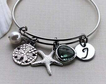 beach theme bangle, beach theme bracelet, beach jewelry, personalized beach bracelet, beach initial bangle, personalized beach bracelet