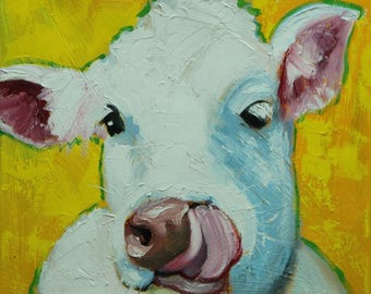 Cow painting 1241 12x12 inch original animal portrait oil painting by Roz