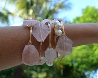 Pink Rose Quartz Geode Stone Gold Wire Wrapped Bangle Bracelet
