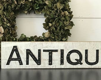 Antique Wood Sign . Wooden Sign . Cottage Farmhouse Decor . Fixer Upper . Black and White . Vintage Advertising