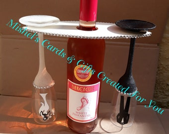 Wedding Champagne Flutes and Mdf Glass and Bottle Holder, Special Occasions, Birthdays, Anniversaries (ALCOHOL NOT SUPPLIED)