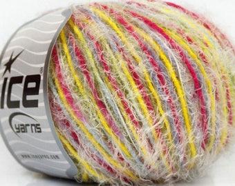 SALE ICE EYELASH blend pink blue yellow white 50g 6 //56 fingering wool
