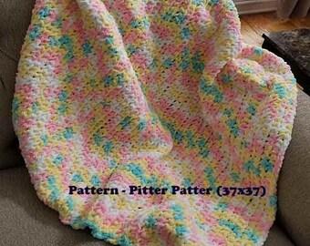 """New Handmade Crochet Baby Toddler Lovey Soft Chunky Blanket """"Pitter Patter"""""""
