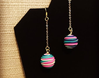 Multicolor Sphere Drop Earrings