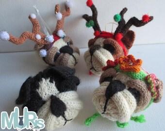 Christmas Knitting Pattern -Christmas Bulldog Buddies Ornament Knitting Pattern
