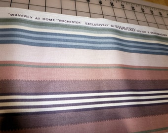 "2.5 Yard Remnant - Vintage Waverly at Home ""Rochester"" stripe fabric"