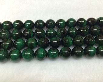 4mm-12mm Round Tiger Eye Beads Green Semiprecious Gemstone Bead String Beading 15''L Jewelry Supply Wholesale Beads