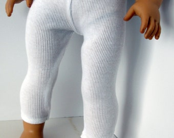 White knit leggings.  Fits 18 inch dolls like American Girl and My Heritage.  American handmade.  Gift. Girls. Dolls. doll clothing.