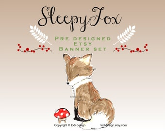 Sleepy Fox - Premade Etsy Shop COVER  set -  Whimsical