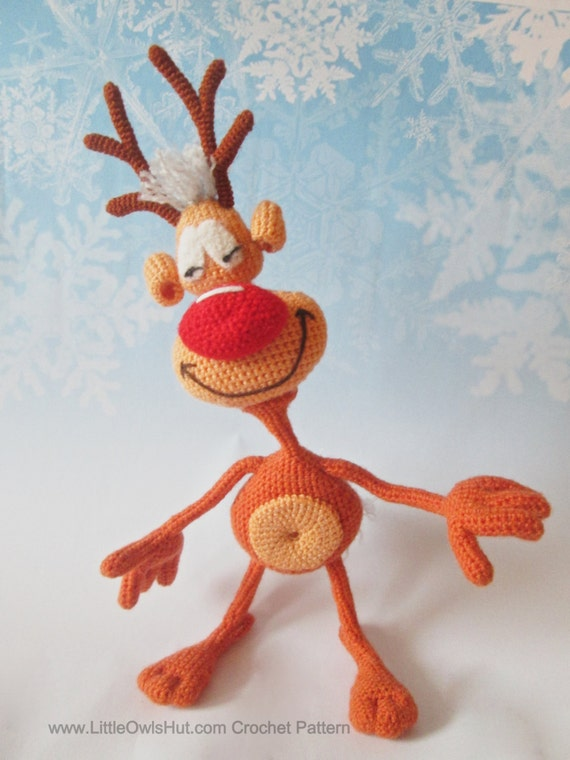 035 Reindeer Rudolph toy Crochet Pattern. Toy with wire frame