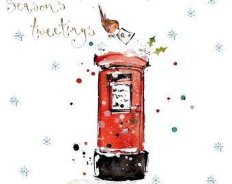 Handmade Card, Robin on a Postbox Christmas Card, holiday card, snow, Christmas, Festive
