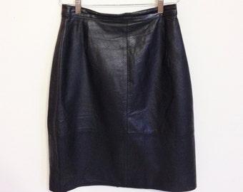 Black Skirt - Size 3/4 1980's Mid Length Black Leather Skirt - Leather Skirt - Black Leather Skirt - Black Business Skirt - Leather Clothing