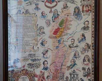Vintage Carte des Vins de Bourgogne Framed Poster 1960's Excellent Condition Tour of Bourgogne Wines