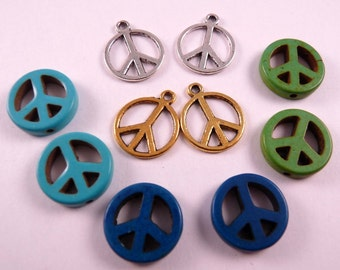 Peace Sign Beads Turquoise Beads Metal Beads Gemstone Beads Green Beads Blue Beads Silver Charms Gold Charms