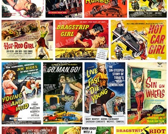HOT ROD VIXENS - Digital Printable Collage Sheet - Dragstrip Pin-Up Girls, B-Movie Bad Girls & Drag Race Rumbles, Instant Download