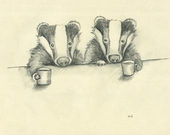 Eyes Wide Open - 8x10 Art Print - Badgers Drinking Coffee