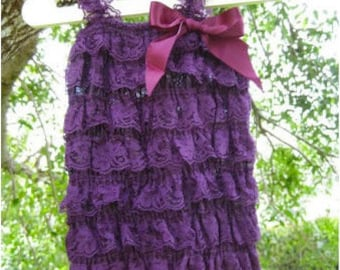 Vintage Purple Lace Romper for Baby Girls