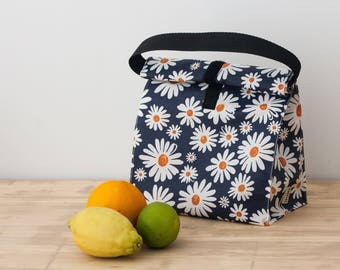 Lunch bag for women. Eco food bag. School lunch bag. Daisies fabric bag. Adult lunch. Waterproof lunch bag. Zero waste utensils